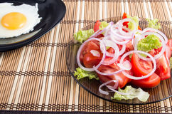 Close-up view on natural homemade breakfast of salad with fresh Stock Photos