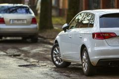 Close-up view of a new modern car parked on the side of the stre. Et Stock Images