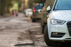 Close-up view of a new modern car parked on the side of the stre. Et Royalty Free Stock Image