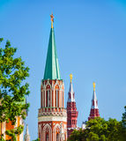 Close up view of Nikolskaya tower top part Royalty Free Stock Images