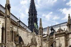 Close up view of Notre Dame Cathedral Stock Images