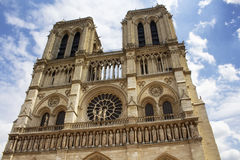 Close up view of Notre Dame Cathedral Royalty Free Stock Photo