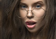 Close Up View Of A Sexy Woman In Eyeglasses. Stock Photos