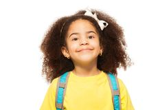 Close-up View Of African Girl Wearing White Bow Royalty Free Stock Photos