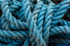 Free Close Up View Of Blue Ropes And Nylon Nets Used To Fish. Stock Photography - 190903302