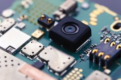 Free Close Up View Of Camera Inside Smart Phone And Motherboard Stock Photos - 103711203