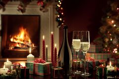 Close Up View Of Champagne With Candles Stock Images