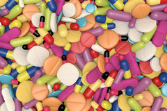 Close-up View Of Different Drugs And Pills Royalty Free Stock Photos