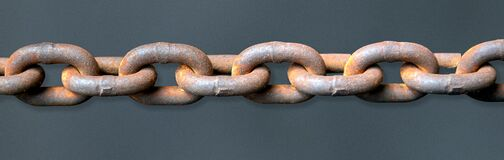 Free Close Up View Of Rusty Metal Chain Links Stock Photography - 175742302