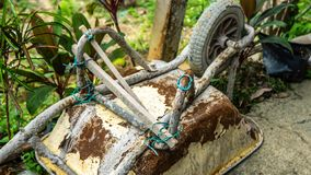 Free Close Up View Of Tire Of An Old Rusty 3-wheeled Wheelbarrow With Plant Nature Background Royalty Free Stock Images - 164980499