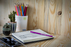 Close up view of the office tools Royalty Free Stock Images