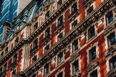 Close-up view of old building The Knickerbocker hotel exteriro Times Square in Midtown Manhattan New York City. New York City - USA - Mar 12 2019: Close-up view stock image