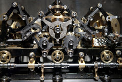 Close up view of old clock gear mechanism Royalty Free Stock Image