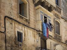 Close up view of old, historical building in Valletta / Malta. I Royalty Free Stock Photo