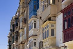 Close up view of old, historical buildings in Valletta / Malta. Royalty Free Stock Photo