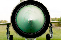 Close up view of old jetfighter Mig-21. Stock Photo