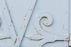 Close up view of old painted white gate Stock Photography