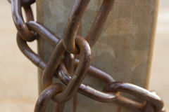 Close-up view of old rusty chain links. Royalty Free Stock Photography