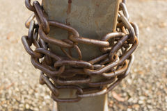 Close-up view of old rusty chain links. Stock Photography