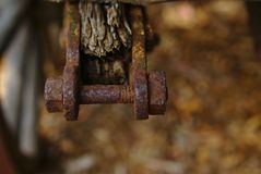 Old rusty corrosive nuts and bolt royalty free stock photography