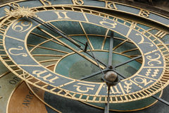 Close-up view of Old Town Hall Tower Prague astronomical clock Royalty Free Stock Photography