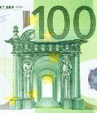 Close up view from one hundred euros bill. High resolution photo Royalty Free Stock Photos