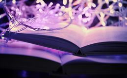 Close up view of open books. And beautiful garland Royalty Free Stock Photos