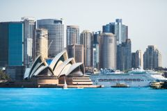 Close up view of Opera House from Cremorne Point stock photography