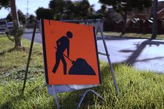 Road work ahead sign royalty free stock photos