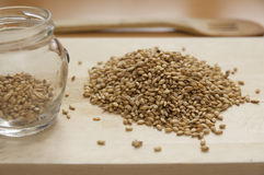 Close up view of organic Barley on a board Royalty Free Stock Photos