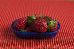 Close up view of organic Strawberry in a basket Royalty Free Stock Image