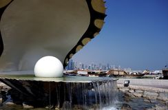 Close up view of oyster and pearl fountain in Doha Stock Image