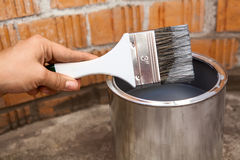Close-up view of painting brush stained grey color Stock Images