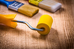 Close up view  painting tools paint roller brushes Royalty Free Stock Photos