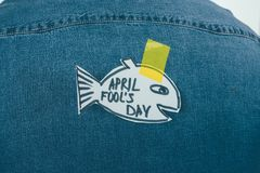 Close up view of paper made fish with sticky tape on jeans shirt, april fools. Day concept royalty free stock photos