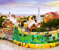 Close up view of Park Guell in Barcelona Royalty Free Stock Images