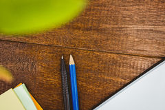 Close up view of pen and pencil Royalty Free Stock Images