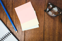 Close up view of pencil and post it Royalty Free Stock Photo
