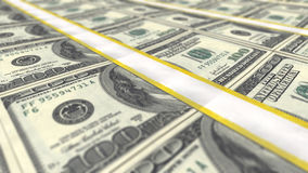 A close-up view of perfectly stacked rows of dollars bundle Stock Images