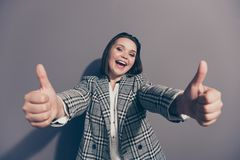 Close up view photo portrait of excited glad cool laughing carefree delightful pretty she her agent office lady making stock photos