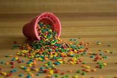 Pink Ice Cream Cone with Sprinkles stock photos