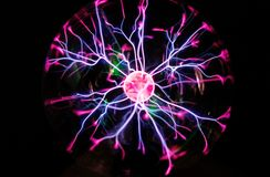 Plasma ball in action. Close-up view of Plasma ball in action Stock Photo