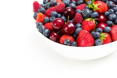 Close up view of plate full of berries Royalty Free Stock Images