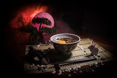 Close up view of plate with japanese food inside. Japan traditional food on wooden table with decoration of bonsai tree and moon o. N toned foggy background stock photos