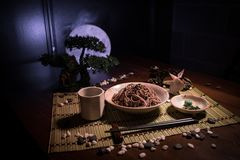 Close up view of plate with japanese food inside. Japan traditional food on wooden table with decoration of bonsai tree and moon. On toned foggy background stock photography