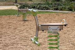 Playground spring toy. Close up view of a playground spring toy on a park Royalty Free Stock Image