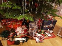 Close up view of plenty christmas presents under christmas tree. Christmas backgrounds royalty free stock images
