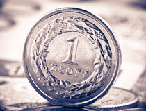 Close up view of Poland currency Stock Photo