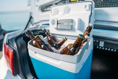 Close up view of portable fridge with beer standing. In car royalty free stock photo