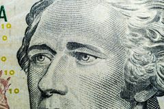 Close up view Portrait of Alexander Hamilton on the one ten dollar bill. Background of the money. 10 dollar bill with Alexander Ha. Milton eyes macro shot. Money royalty free stock images